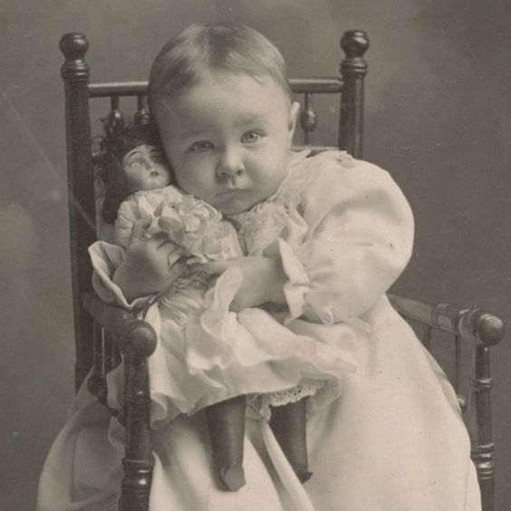 Antique cabinet card photo of baby girl with her doll...so precious!!!: