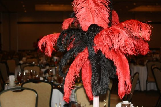 Roaring 20's Theme Party Red & Black Feather Centerpieces