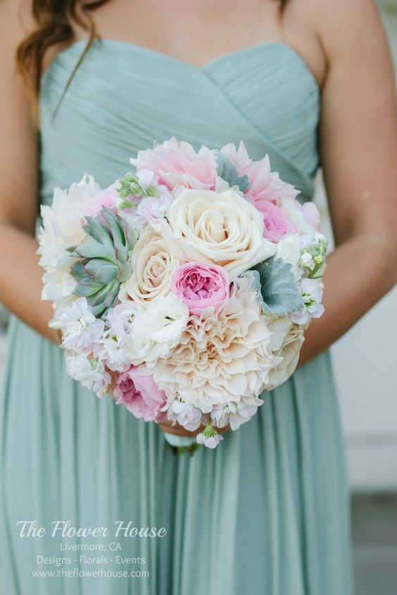 Blush and mint bridesmaid bouquet by www.theflowerhouse.com