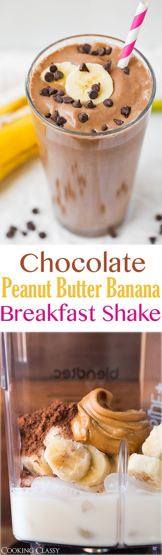 Chocolate Peanut Butter Banana Breakfast Shake - healthy, easy to make and tastes like a shake! http://papasteves.com