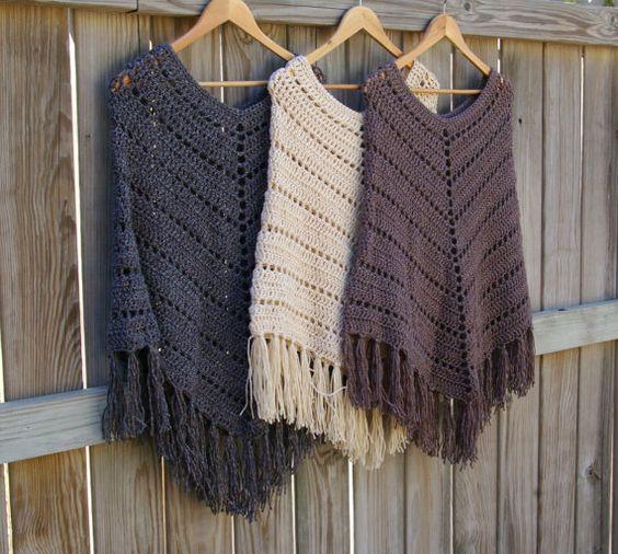 Au crochet motif motif Boho Poncho modèle de par CandacesCloset