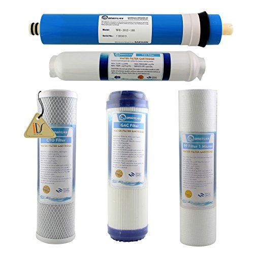 5 Stage Reverse Osmosis Ro Water Filters Replacement Set With 100 Gpd Membrane Reverse Osmosis Water Filter Cartridge Filters