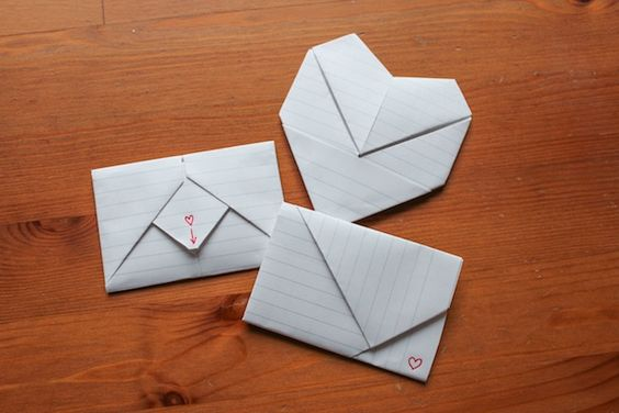 how to fold origami notes for valentines day like you did in junior high and middle school, at Assemble Shop