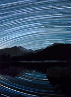 Star trails, Bear Lake, Rocky Mountain National Park, Colorado, night, stars, lake, mountains