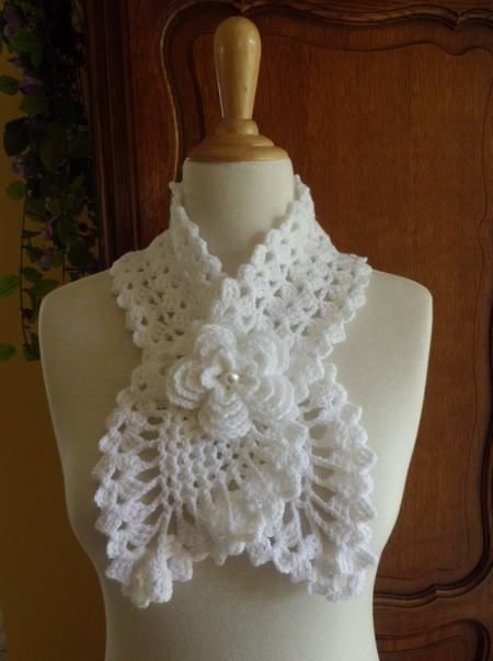 Single crochet patterns and designs.   Pictured: pineapple neck warmer with 3D Rose flower