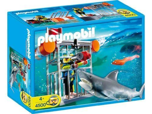 Shark Toy Set : Playmobil shark diver by cage