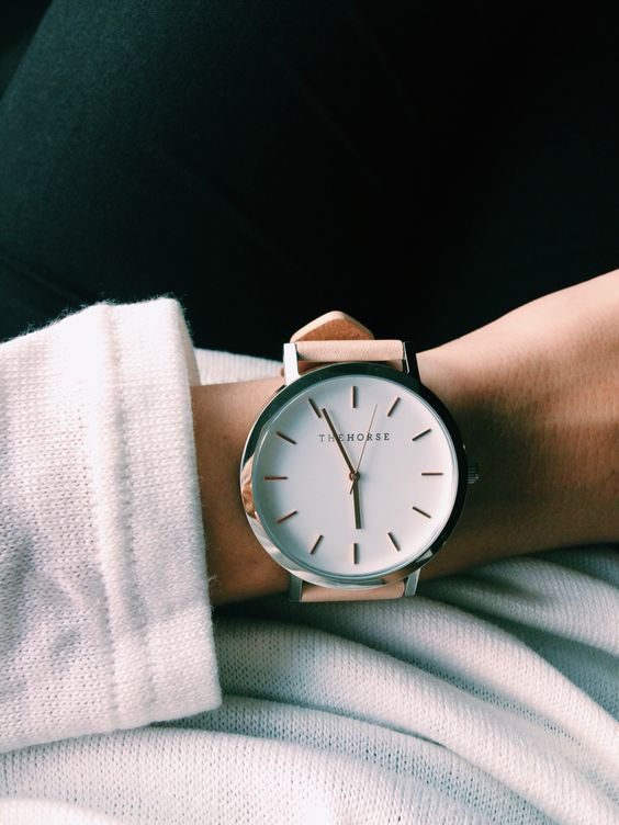 The horse watch- vegetable tan silver