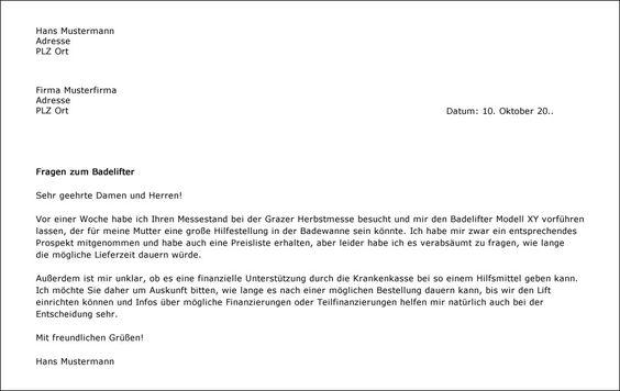 Musterbrief Fur Das Schreiben Einer Anfrage Musterbrief Briefe Anfrage Schreiben Entschuldigung Schule Geschaftsbrief