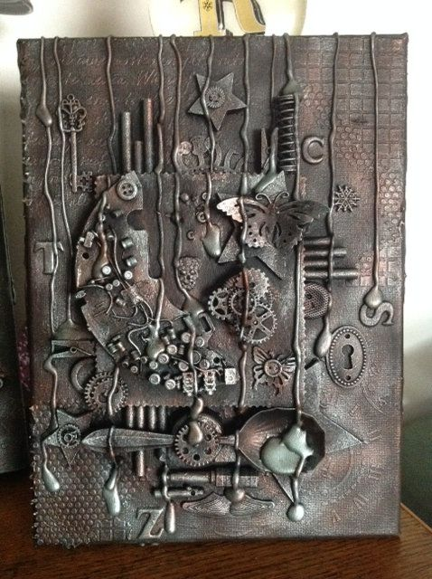 Steampunk Button Moon And Mr Spoon Mixed Media 3d Wall Art