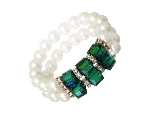 Green Crystal/Pearl Double Designer Bracelet