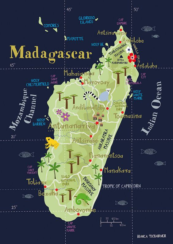 Illustrated Map of Madagascar This is one of those places I dreamed of expl