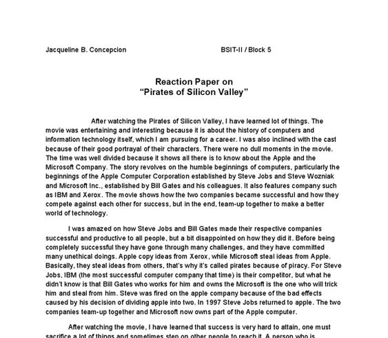 the pirates of silicon valley reaction paper