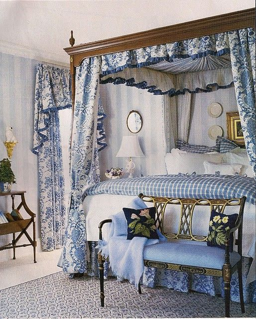 blue toile guest room: