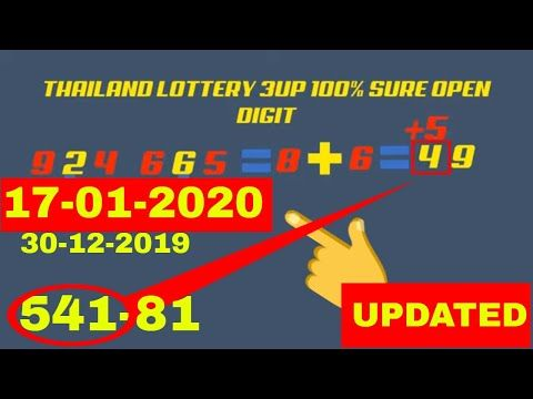 17 01 2020 Thailand Lottery 3up Hundred Percent Sure Open Digit In