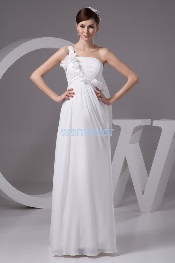 Magnificent Sheath One shoulder Floor Length Chiffon white Party Dress with Shirring(ZJ6379)