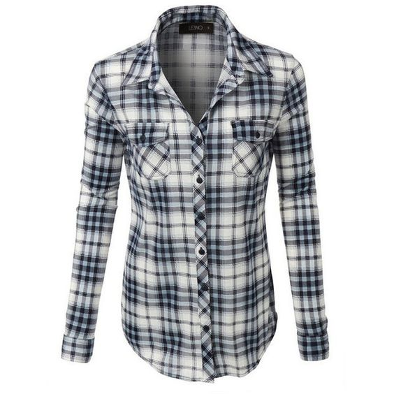 (pre-order) Navy Plaid Button Down Shirt ($34) ❤ liked on Polyvore featuring tops, navy blue shirt, navy blue plaid shirt, short-sleeve button-down shirts, roll top and plaid button up shirts