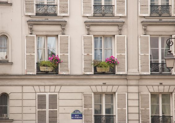 Paris Photography, Spring on Rue de Turenne, Pink flower boxes, White Shutters,Paris Photo, Gallery Wall Art, Paris Window, Rebecca Plotnick by rebeccaplotnick on Etsy