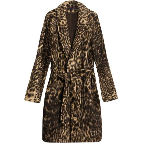 MARTIN GRANT Alpaca Leopard Coat (£1,740) ❤ liked on Polyvore featuring outerwear, coats, martin grant coat, leopard print coat, brown coat, leopard coat and high collar coat