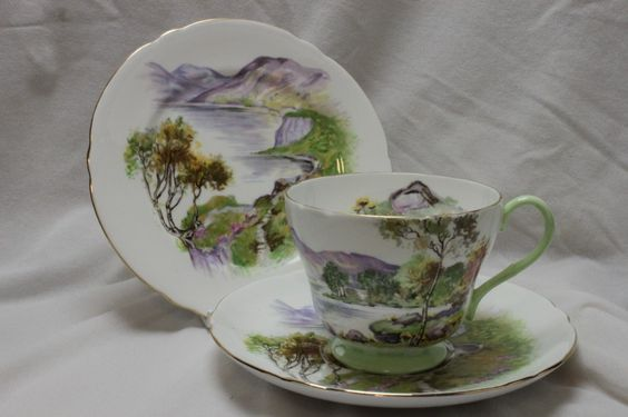 Shelley,(Staffordshire, England) - Cup, Saucer & Plate 'English Lakes', 1950's   (1024×682)
