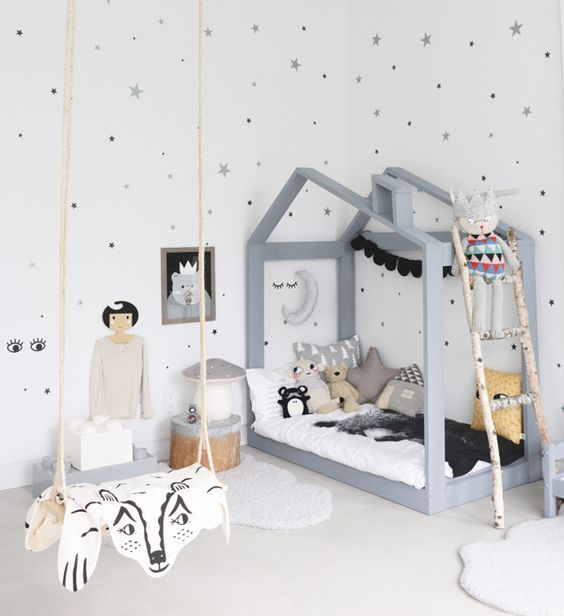 Indoor swing in a child's playroom: