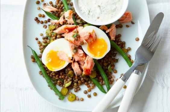 Flakes of hot-smoked salmon give this lentil and egg salad a nice texture.