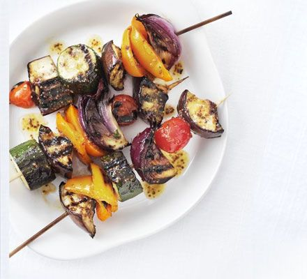 tbsp clear honey  1 tsp grainy mustard  2 tbsp oil  1 courgette , thickly sliced  1 small aubergine , cut into chunks  1 small red onion , cut into wedges  8 cherry tomatoes  1 orange pepper , cut into chunks