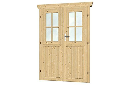 Skan Holz Doppeltur Gartenhauser Zubehor Natur 6 X 117 5 X 179 5 Cm Gartenhaus Tur Holz Gartenhaus Tur Gartenhaus Tur Holz