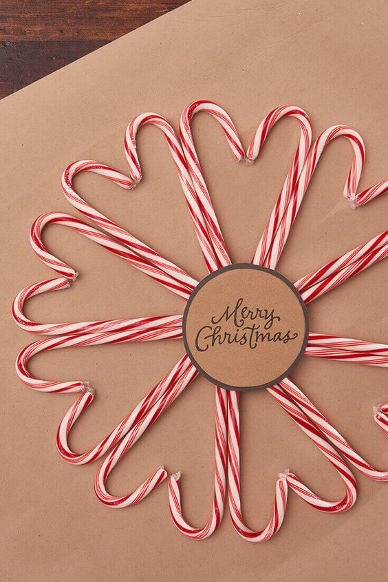 Christmas candy cane wreath for gift wrap