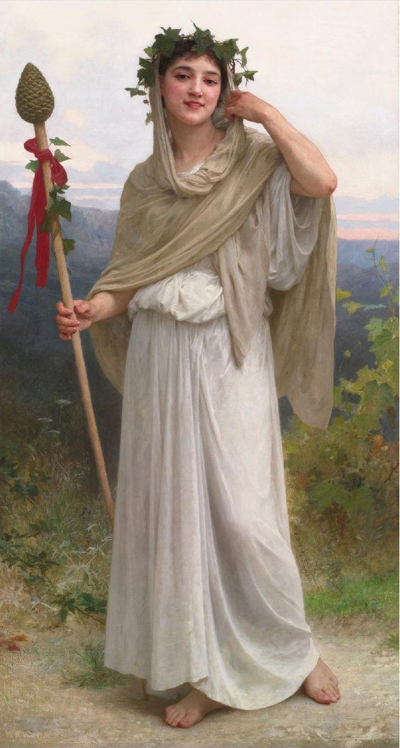 William Adolphe Bouguereau, Neoclassicism  Prêtresse de Bacchus (1894)  oil on canvas  67¼ X 36 in.