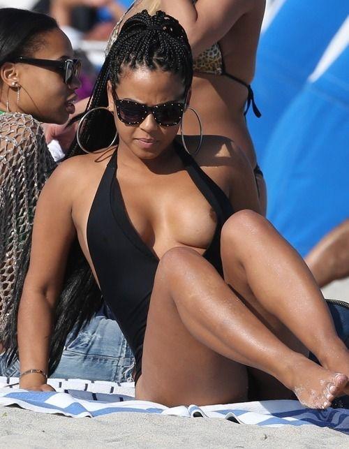 Ebony nipple slip