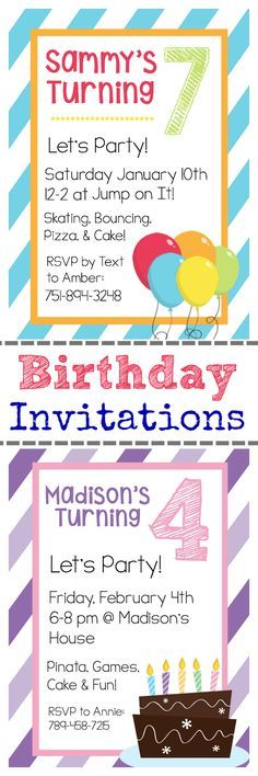 Free Printable Birthday Invitations and Instructions on How to Personalize Them