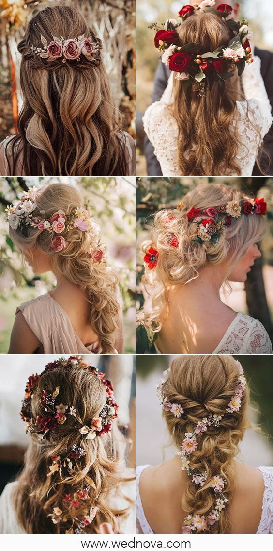 Flower Wedding Hairstyles You Can Try Hair Hairstyles Wedding Hairstyles Bridal Ha Wedding Hairstyles For Long Hair Flowers In Hair Flower Girl Hairstyles