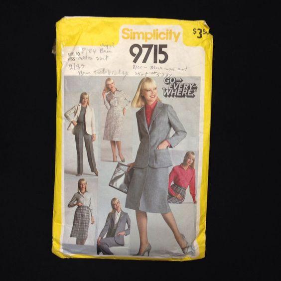 Simplicity Pattern 9715 Womens 10 Pants Go Everywhere Shirt Skirt Pants Jacket #Simplicity #ShirtSlimSkirtStraightLegPantsUnlinedJac