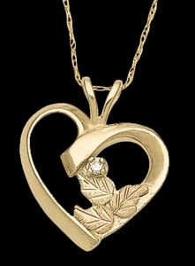 Black Hills Gold Heart with Diamond