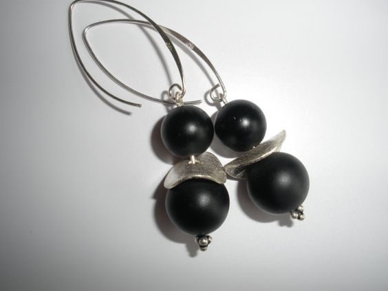 Sterling silver and matte black onyx earrings by MeAndSiSi on Etsy