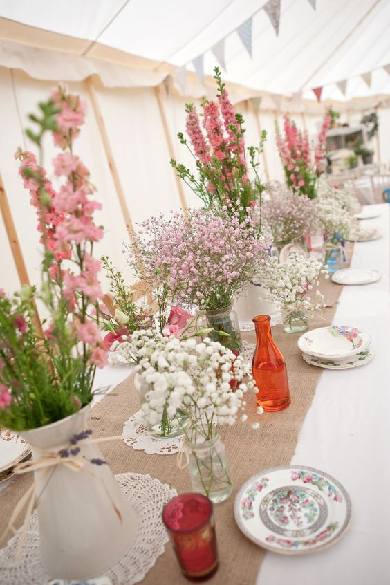 Cost Of Wedding Flowers 2017 : Trestle table wedding flowers and runners on