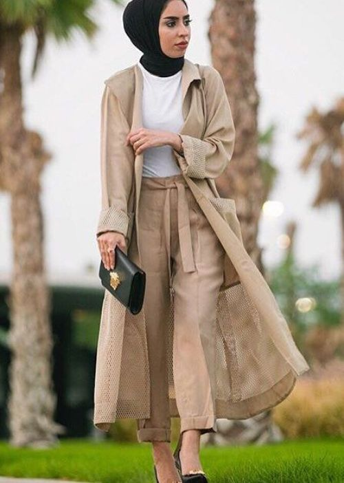 Neutral hijab long cardigan fall stylish hijab street looks Fashion style hijab terkini