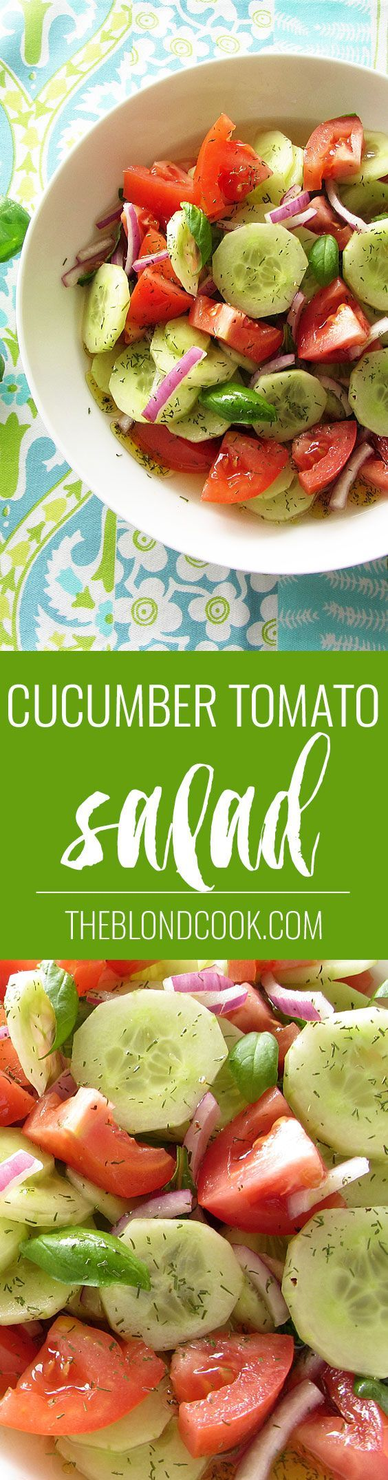 Cucumber Tomato Salad - A healthy salad with a homemade vinaigrette | theblondcook.com: