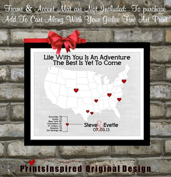 Custom Wedding Gift For Husband : Custom 1st First Wedding Anniversary Gift: For Husband Wife Him Her ...