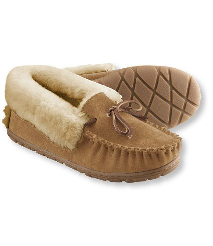 """Here in Maine, """"wicked good"""" is as good as you can get. When you slip into these soft shearling slippers, you'll understand exactly how they earned their name. Women's Wicked Good Moccasins: Slippers 
