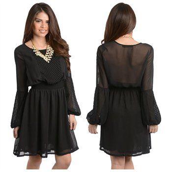 Stanzino Women's Elastic Waist Long Sleeve Chiffon Dress  #rakuten #ootd #fashion #dress #springfashion #deal