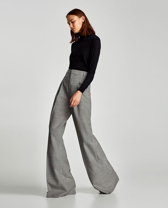ZARA Checked Wide-Leg Trousers with Black Turtleneck