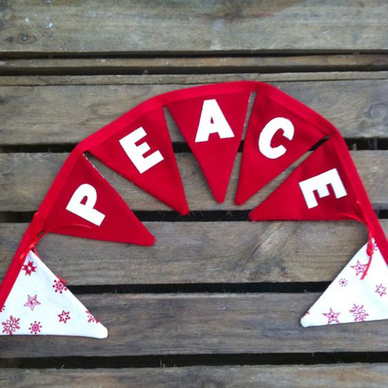 PEACE red and white traditional Christmas fabric by EmmaBuntingUK