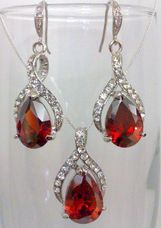 Red Ruby Garnet Bridal Bridesmaids Earrings, Oval Cubic Zirconia Teardrop Wedding Party Jewelry, RED TWIRL
