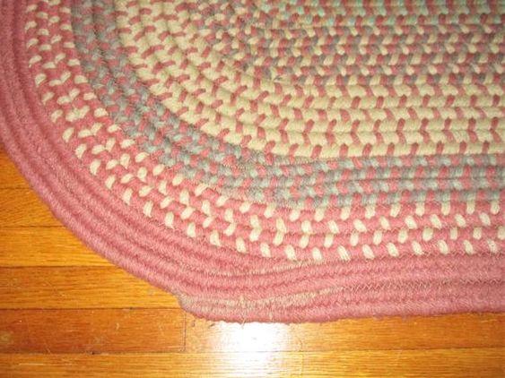 Vintage Braided Rug Runner Wool Mauve 8 Feet Long Hallway Rug Reversible Rug Braided Rug Diy Braided Rugs Reversible Rug