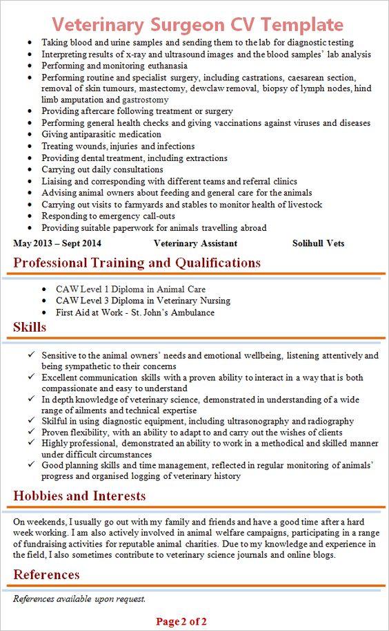 Cv Template Veterinary Student Cvtemplate Student Template Veterinary Cv Template Sample Resume Student Resume