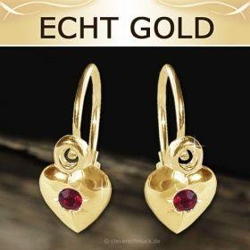 CLEVER SCHMUCK Goldene Ohrringe als Bouton mit Herz geschlossen Zirkonia rot ECHT GOLD 333 Kinderohrhänger Mädchen | kaufen bei CLEVER SCHMUCK