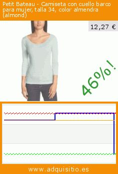 Petit Bateau - Camiseta con cuello barco para mujer, talla 34, color almendra (almond) (Ropa). Baja 46%! Precio actual 12,27 €, el precio anterior fue de 22,80 €. https://www.adquisitio.es/petit-bateau/camiseta-cuello-barco-103