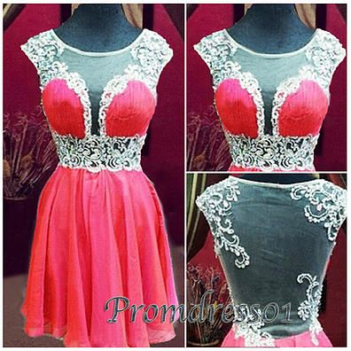 Prom dress 2015, cute round neck short coral red lace chiffon prom dress for teens, homecoming dress, ball gown, evening dress #promdress