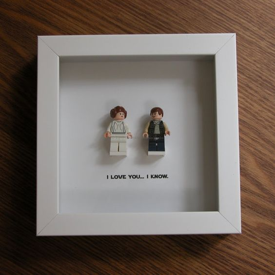 LEGO Star Wars Art Frame - Han Solo & Princess Leia - LEGO Minifigure Display - Wedding Gift - Wall Decor - Picture Frames Displays